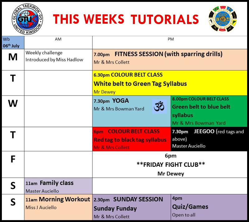 GTUK Distance Training Taekwondo Schedule